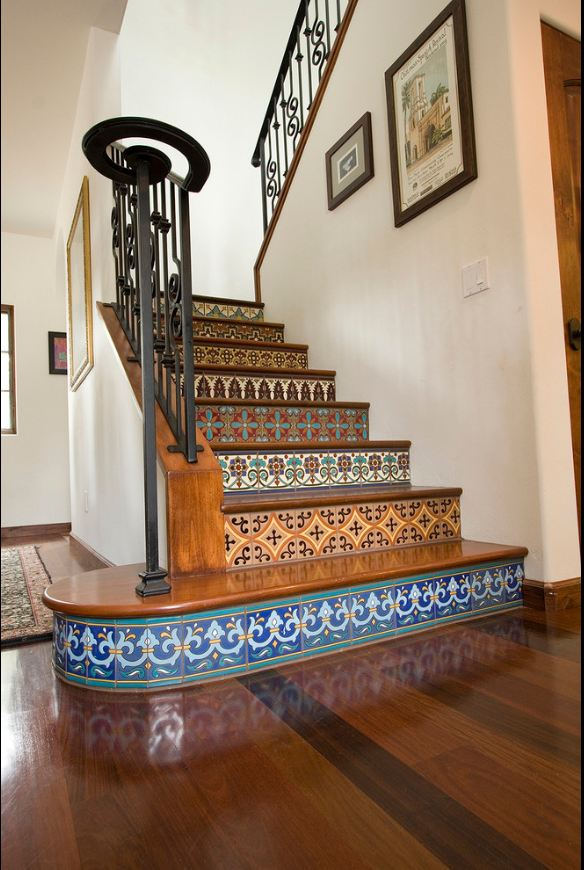 Make Your Stair Case More Eye Catching With Saltillo And Talavera Tile Staircase
