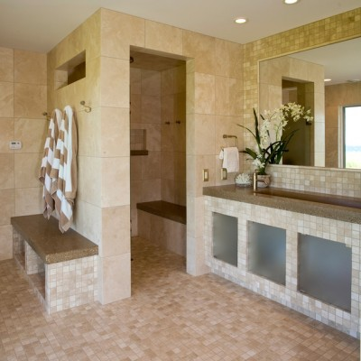Travertine Shower Porcelain Mosaic Floor