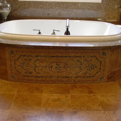 Travertine tile mosaic Rug Bathtub