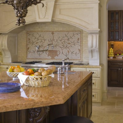 Tumbled Versailles Travertine Floor Mosaic Backsplash