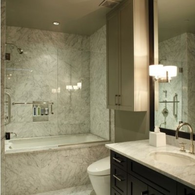 White Carra Marble Bathroom