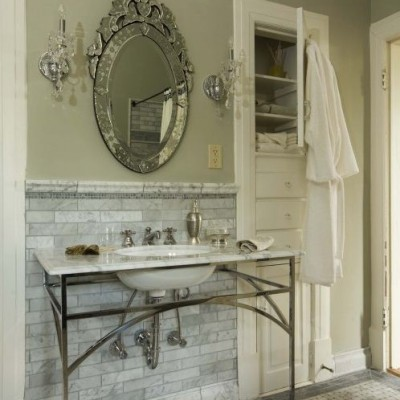 White Carrara Wall Carrara Basketweave floor Bathroom