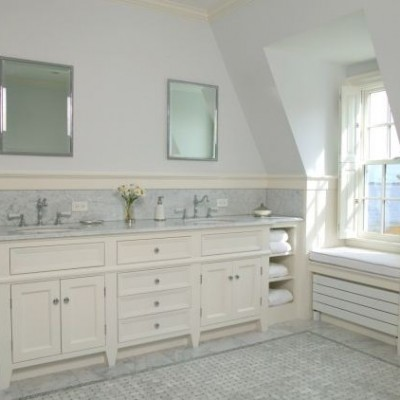 White Carrara Basketweave Bathroom