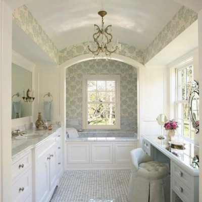 White Carrara Basketweave Floor White Carrara Tub Bathroom