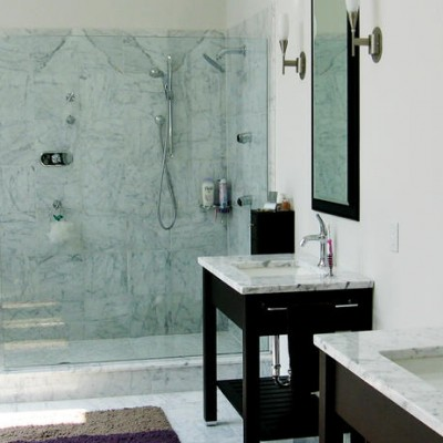 White carrera Shower Vanity