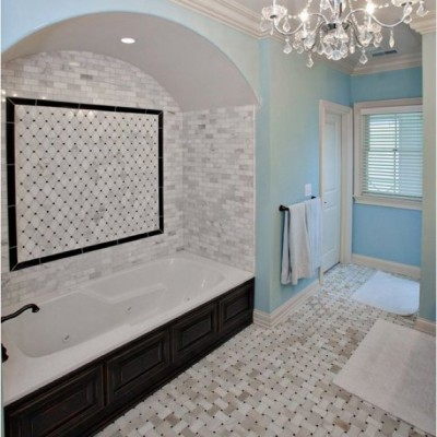 Calacatta gold mosaic timeless bathroom