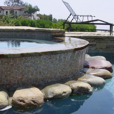 Coronado with glass mosaic pool