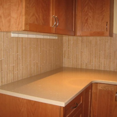 Crema marfil mosaic backsplash