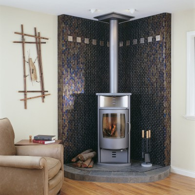 Glass Tile Facets Moroccan Desert Fireplace