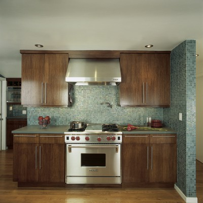 Tessera Spruce Iridescent Kitchen Backsplash