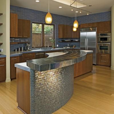 Fleet Blue Glass Tile Kitchen