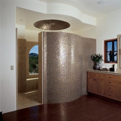 Tessera Amber Glass Tile Shower