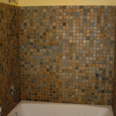 Glass and stone mosaic blend shower