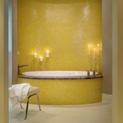 Glass mosaic bathroom tub