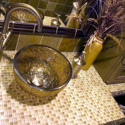 Glass mosaic countertop oceana glass sink