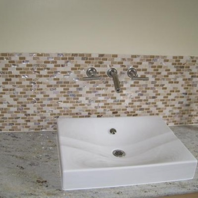 Glass mosaic with modern sink