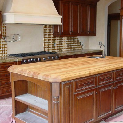 Handmade tile wood counter kitchen
