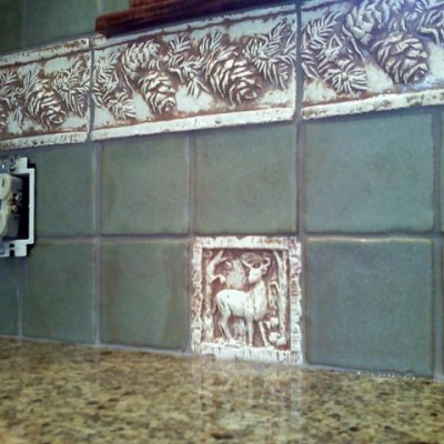 Handmade mosaic backsplash