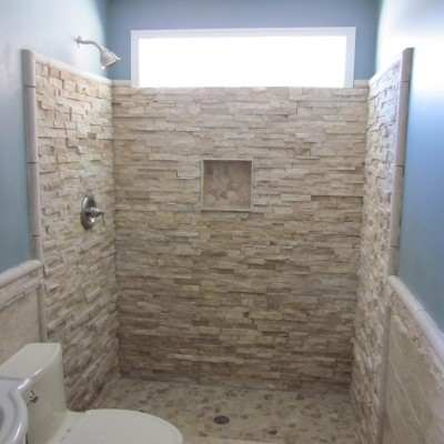 Ledger stone shower