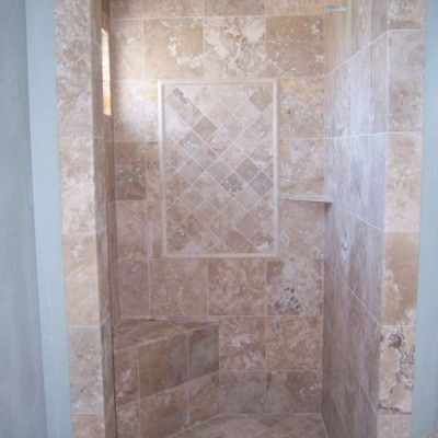 Light travertine shower