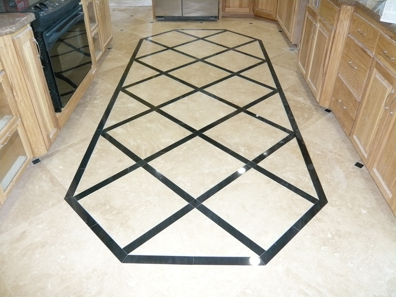 Light Travertine With Absolute Black Border Floor