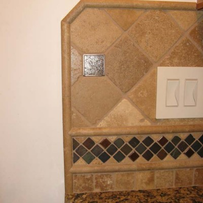 Light travertine with glass insert