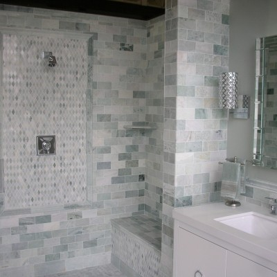Ming green tile shower harlequin mosiac