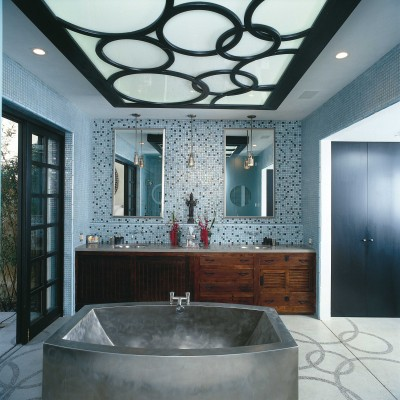 Mixed glass mosaic bathroom