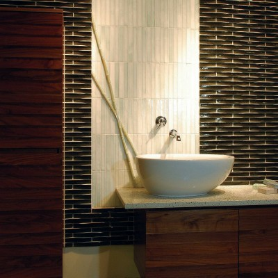 Oceanside lippage glass bathroom