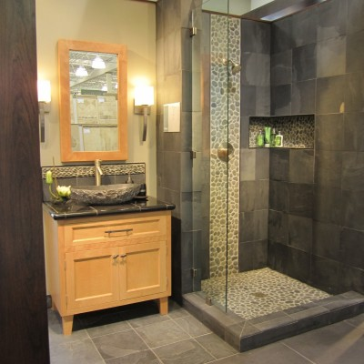 Pebble tile shower large format porcelain