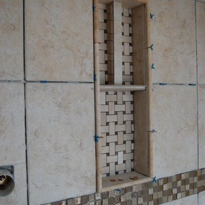 Porcelain tile travertine glass mosaic