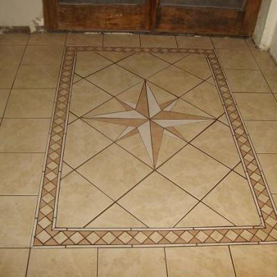 Porcelain with custom compass floor