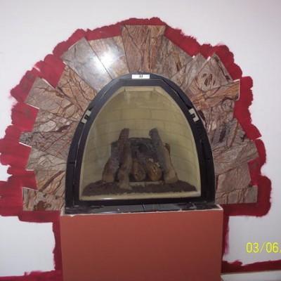 Rainforest green custom cut fireplace