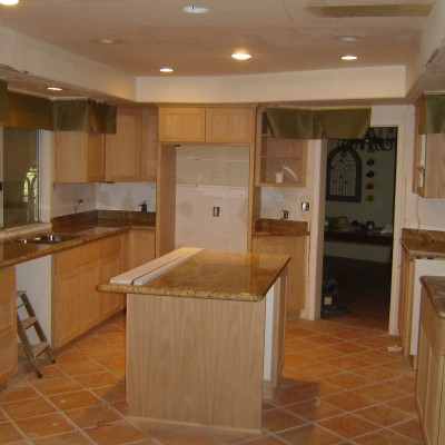 Saltillo floor granite counter kitchen