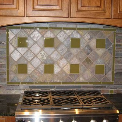Slate with glass backsplash