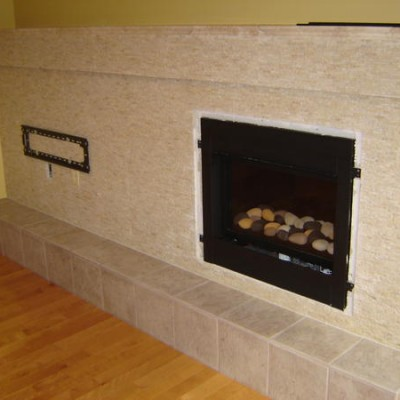 Split face fireplace complete