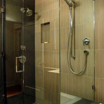 Textured porcelain tile shower