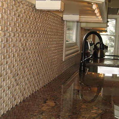 Three dimensiona travertine mosaic backsplash