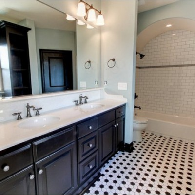 Timeless white black bathroom