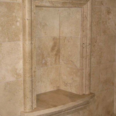 Travertine custom soapdish inshower