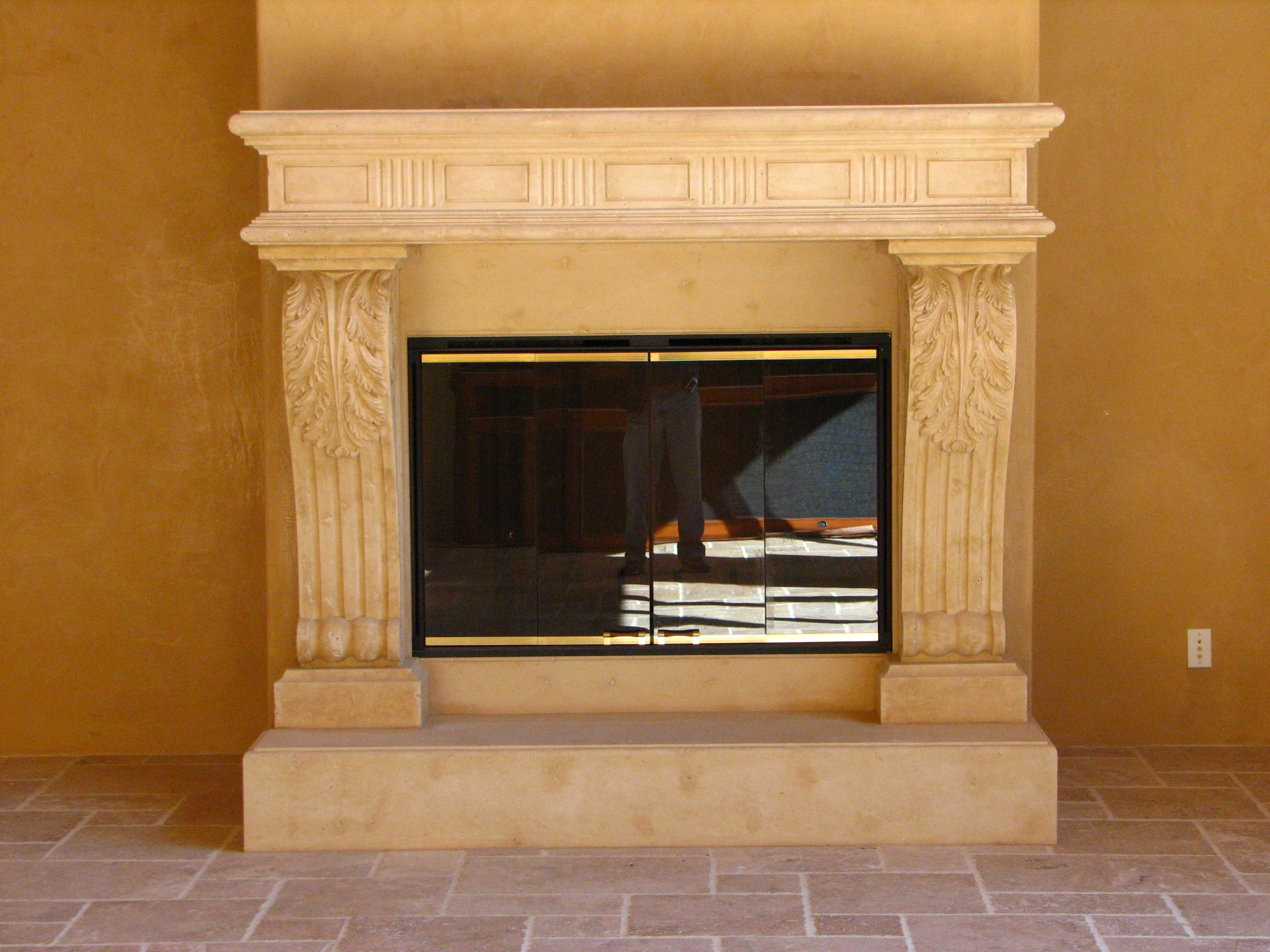 Travertine Stone Fireplace Designs : Fireplaces westside tile and stone