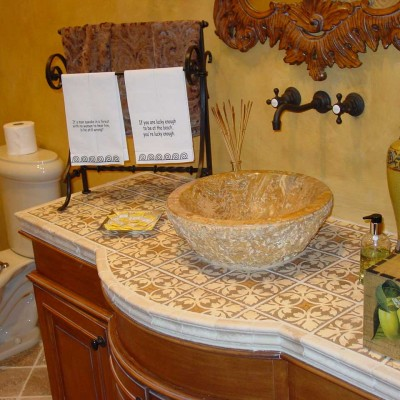 Travertine handpainted countertop bathroom