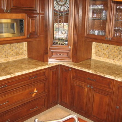 Travertine mosaic backsplash
