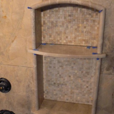 Travertine mosaic insert