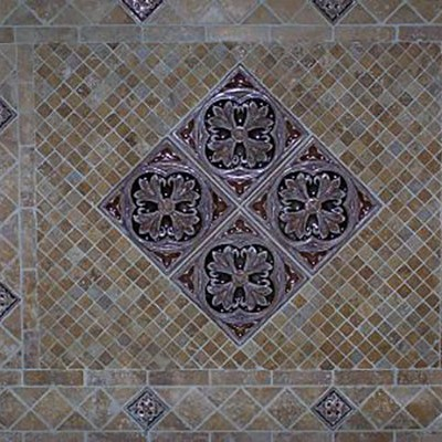 Travertine mosaics with tile insert backsplash