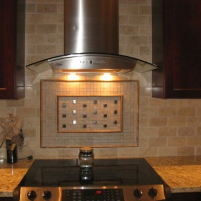 Travertine subway with metal insert backsplash