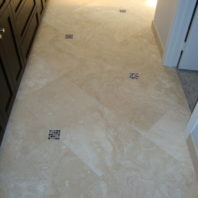 Travertine tile glass insert