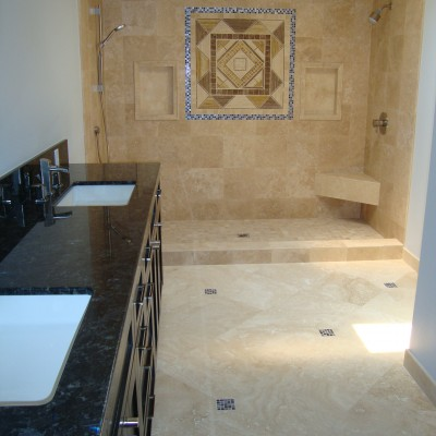 Travertine tile glass medallion