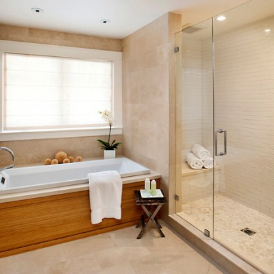 Travertine tile linear tile shower