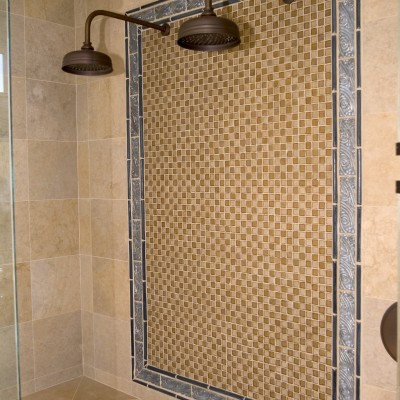 Travertine tile oceanside glass mosaic